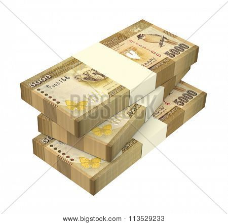 Sri Lankan bills isolated on white background. Computer generated 3D photo rendering.