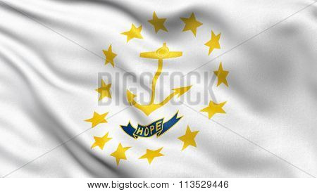 US state flag of Rhode Island with great detail waving in the wind.