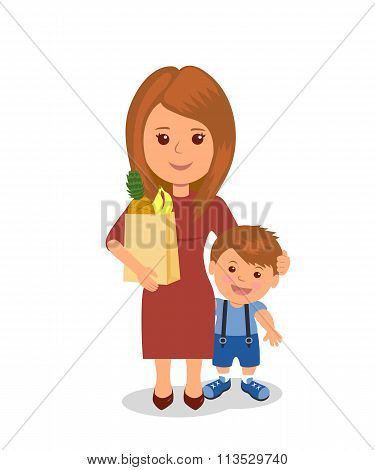 Mother and child shopping. Concept infographics proper nutrition