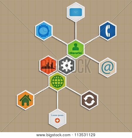 Infographic Template Design -  Hexagon Background.