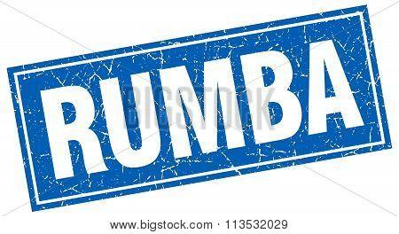 Rumba Blue Square Grunge Stamp On White