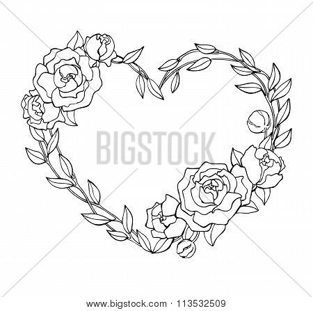 Vector Hand Drawn Rose Wreath In Heart Shape Illustration.