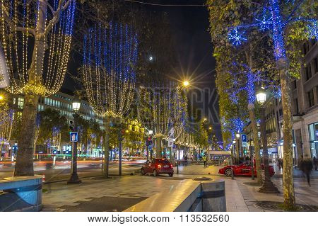 The Christmas Illumination On Champs Elysees Avenue, Paris, France.