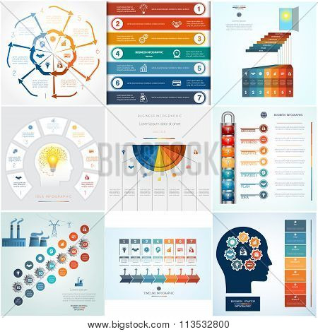 Set 9 Templates Infographics For Seven Positions