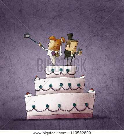 Humorous Illustration Of Bride And Bridegroom Standing On Wedding Cake