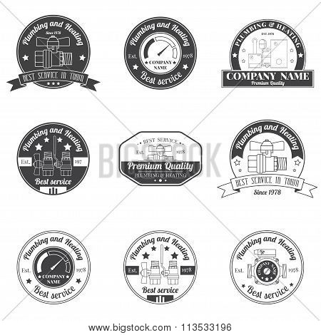 Set Vintage Plumbing, Heating Services Logo, Labels And Badges. Stylish Monochrome Design.for Your C