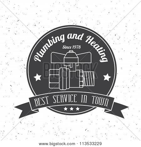 Vintage Plumbing, Heating Services Logo, Labels And Badges. Stylish Monochrome Design.