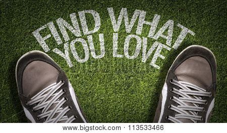Top View of Sneakers on the grass with the text: Find What You Love
