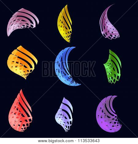 Set Of Abstract Three-dimensional  Figures Of Different Colors