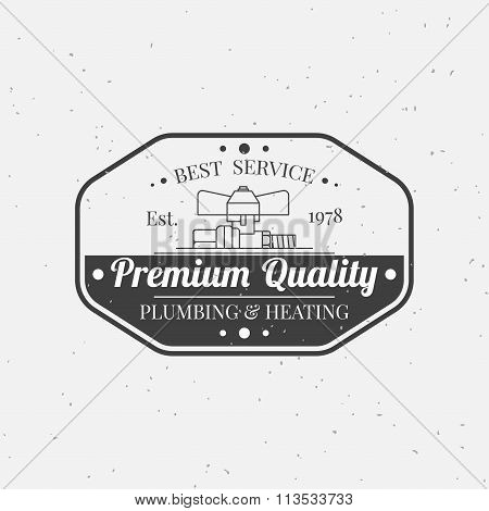 Vintage Logos, Labels And Badges Plumbing & Heating Services. Vector Dark Grey Icon On Light Grey Ba