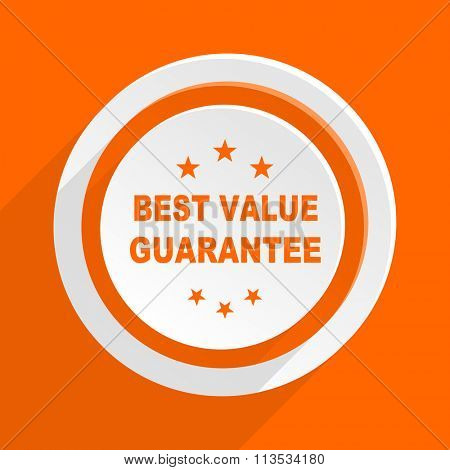 best value guarantee orange flat design modern icon for web and mobile app