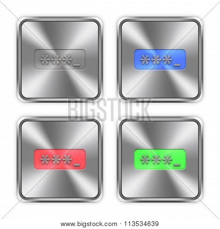 Color Password Typing Steel Buttons