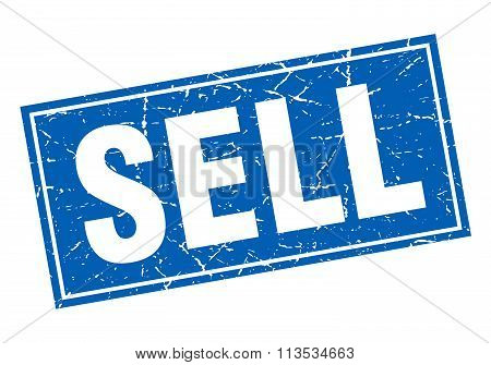 Sell Blue Square Grunge Stamp On White