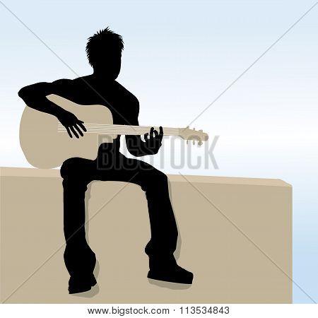 Vector Man playing guitar