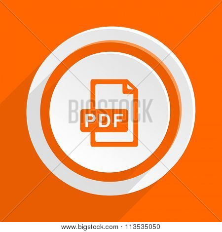 pdf file orange flat design modern icon for web and mobile app