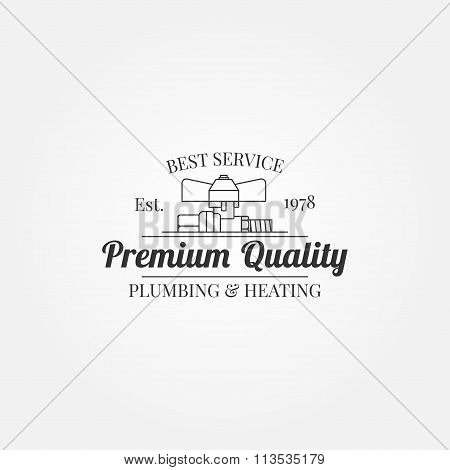 Vintage Logos, Labels And Badges Plumbing & Heating Services.  Vector Dark Grey Icon
