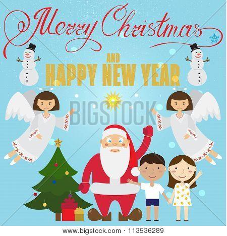 Christmas Poster Design With Santa Claus, Angel, Children,snowman, Christmas Tree