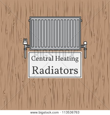 Central Heating Radiators Badge. Vector. Radiator.