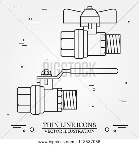 Ball Valve Icons Thin Line For Web And Mobile, Modern Minimalistic Flat Design. Vector Dark Grey Ico