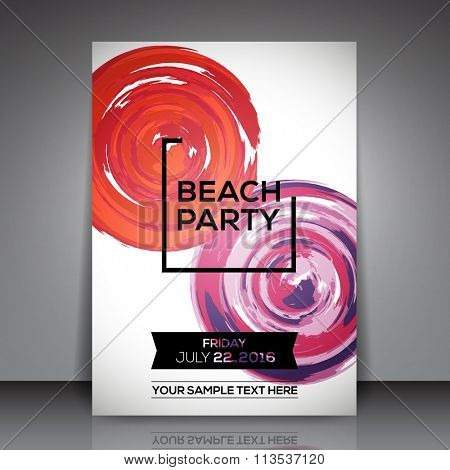 Beach Party Flyer Template Vector Background