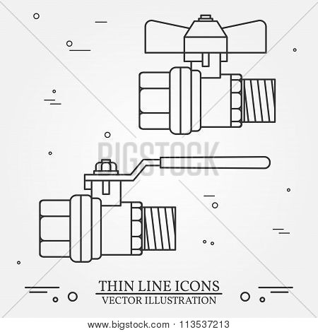 Ball Valve Icons Thin Line For Web And Mobile, Modern Minimalistic Flat Design. Vector