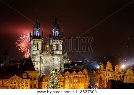 Prague Old Town With Fireworks In The Night