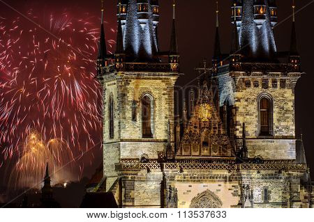 Fireworks In Prague Behind Church Of Our Lady Before Tyn