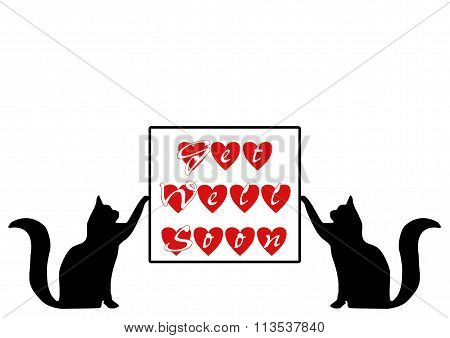 Cats Holding Get Well Soon Card
