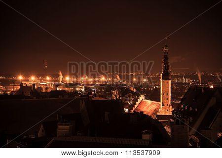 Cityscape Of Old Tallinn At Night, Holy Spirit Church