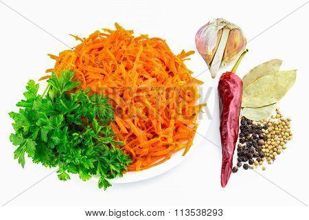 Korean Carrots With Parsley, Pepper, Garlic Bay Leaf, Still Life