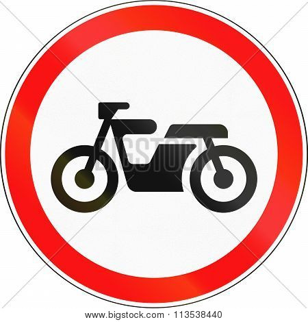 Road Sign Used In Russia - No Mopeds