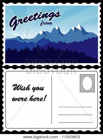 Postal, paisaje de montaña