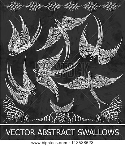 Set of abstract chalk swallows. Vector illustration, EPS10.