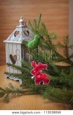 Christmas Candle Holder With Heart, With Christmas Tree Decorated With Bird And Deer