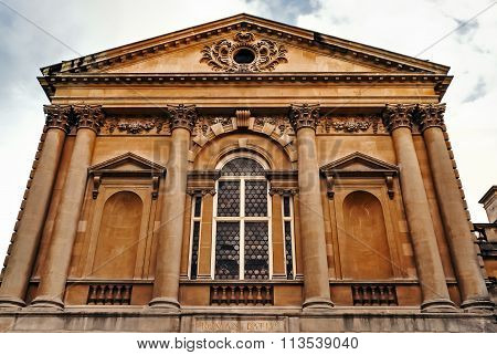Roman Baths entrance front Bath City UK Somerset ancient historic architecture attraction stone buil