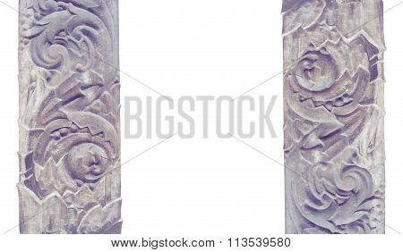 Carved Stone Decoration Architectural Modeling Isolated On A White Background