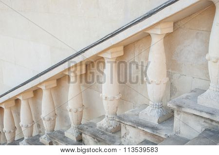 Forged Baroque balusters and stairs in perspective