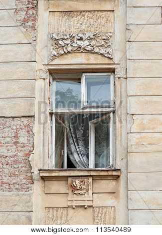 Old Window With The Architecture Of Lviv