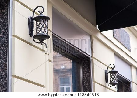 Beautiful Forged Lantern Outdoors In The City Of Lviv