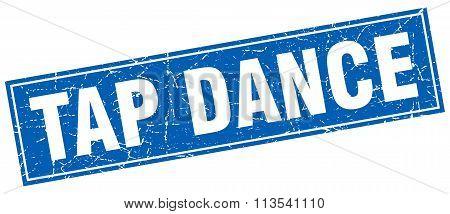 Tap Dance Blue Square Grunge Stamp On White