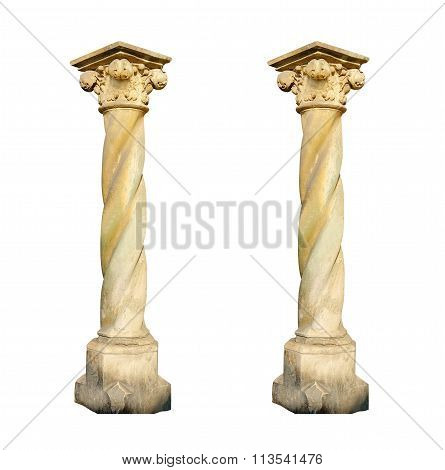 Architectural Two Columns On A White Background
