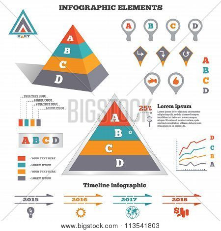 Infographics elements set. Pyramid chart, graphics tags and marks. Perspective view. Timeline diagra