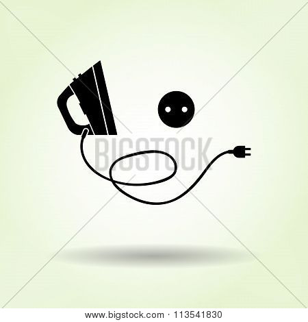 Iron with two-pin plug and European socket base icon. Electric appliance symbol. Black sign on light