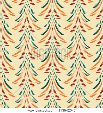 Seamless Christmas pattern. Stylized ornament of trees, firs on yellow background. Winter, New Year
