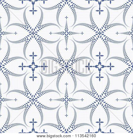 Religion seamless pattern. Laurel wreath, lace view texture with cross. Ceremonial background. White