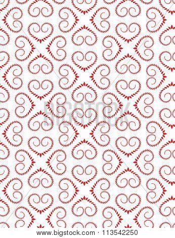 Seamless heart pattern. Vintage swirl, twist texture. Stylized ornament of laurel leaves. Red figure