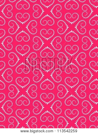 Seamless heart pattern. Vintage swirl, twist texture. Stylized ornament of laurel leaves. White figu