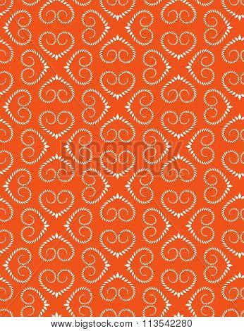 Seamless heart pattern. Vintage swirl, twist texture. Stylized ornament of laurel leaves. White figu