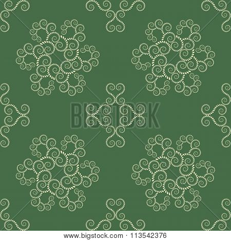 Seamless lace pattern. Vintage texture. Spiral swirl figures, floral snowflakes. Twist ornament of l