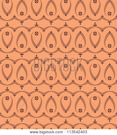 Religion seamless pattern. Laurel wreath, lace view texture with cross. Ceremonial background. Orang